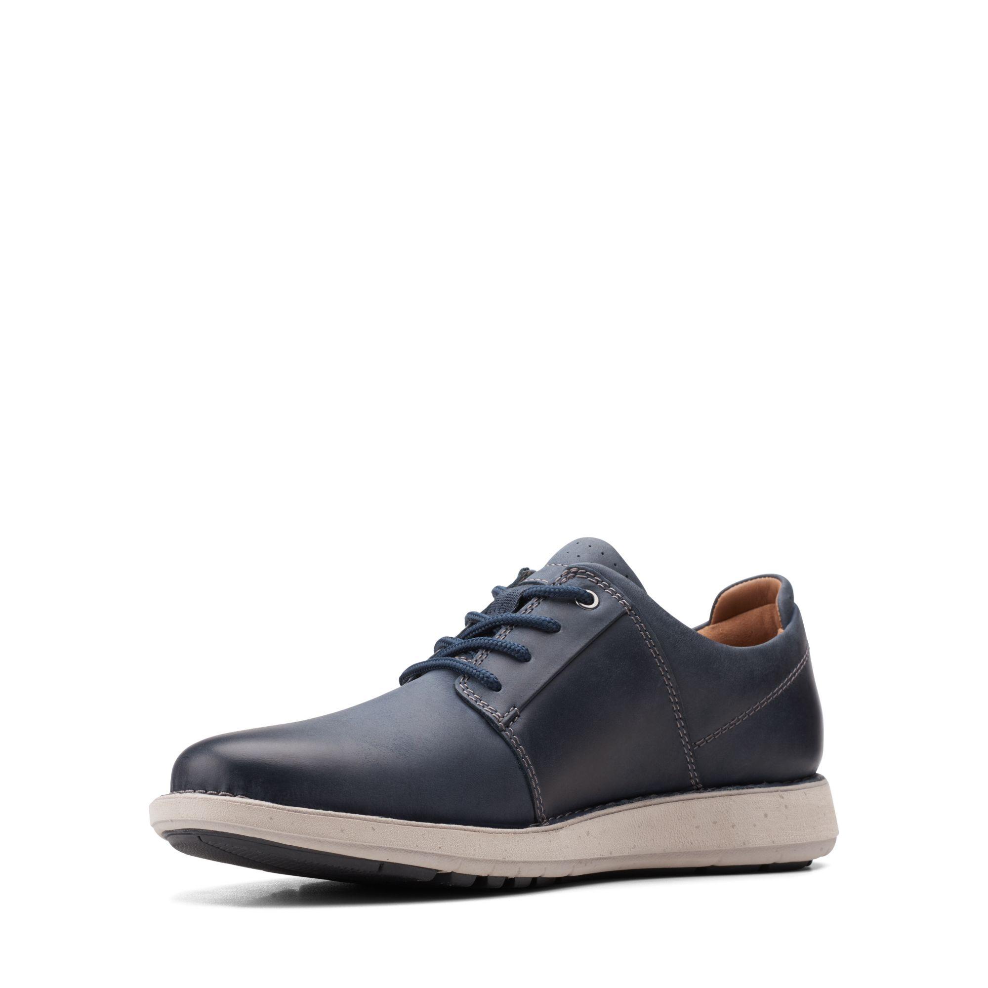 Мъжки ежедневни кожени обувки Clarks Un LarvikLace2 морско синьо - снимка 6