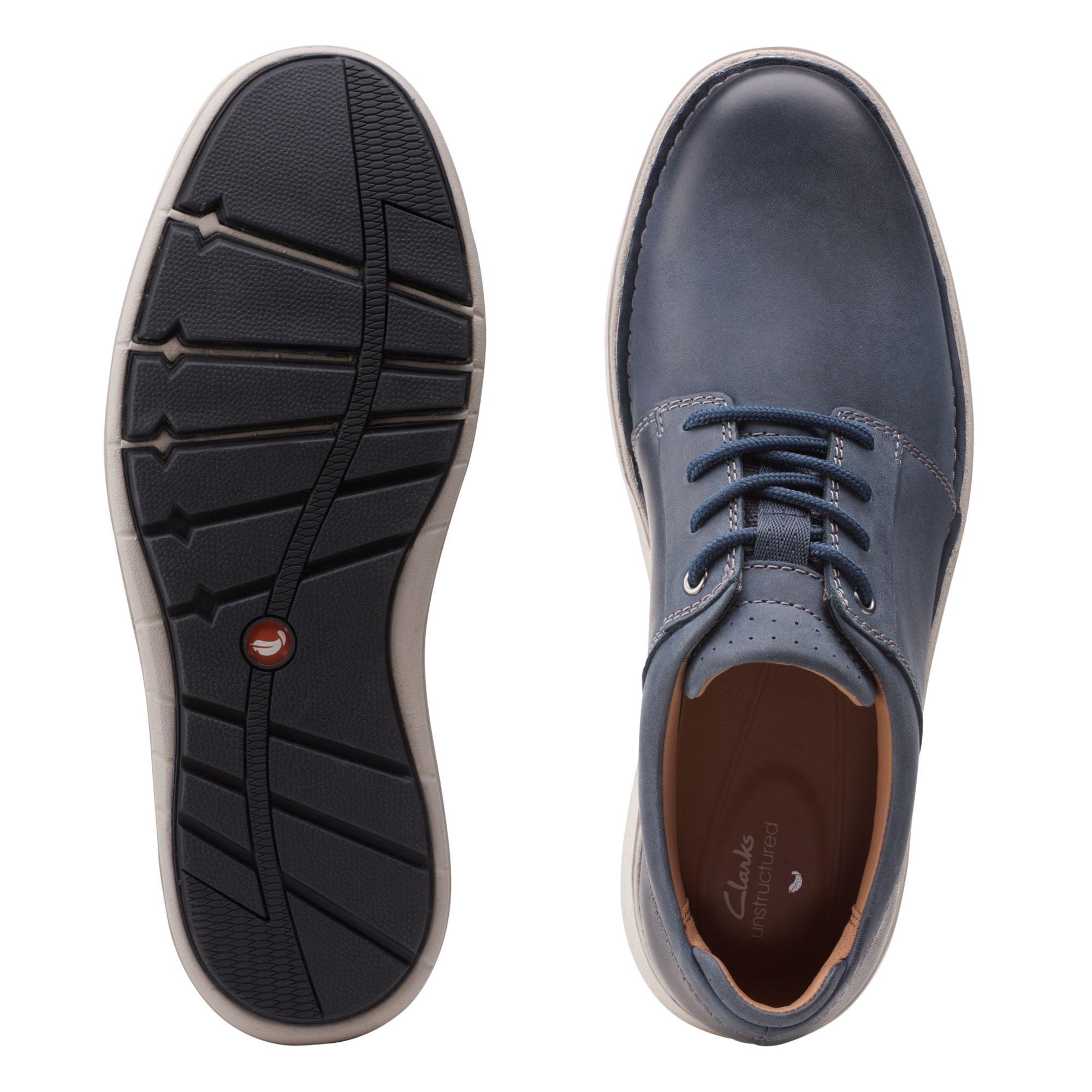 Мъжки ежедневни кожени обувки Clarks Un LarvikLace2 морско синьо - снимка 7