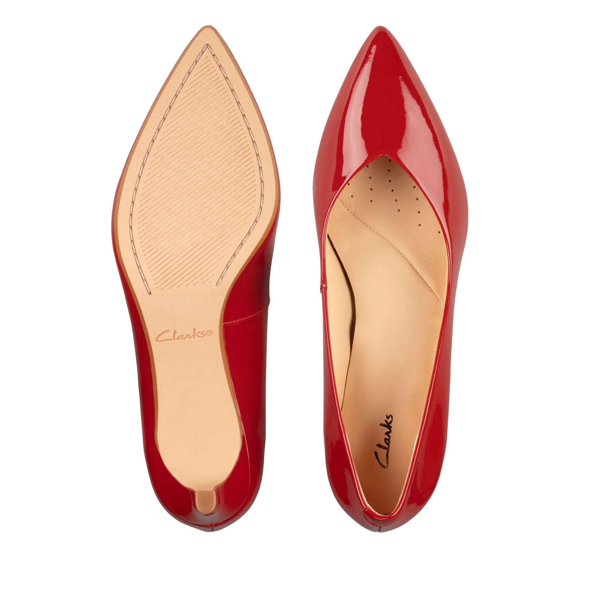Дамски елегантни обувки Clarks Laina 55 от естествена кожа червени - снимка 8