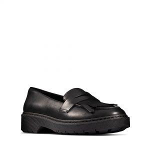 Дамски ежедневни обувки Clarks Witcombe Dawn от естествена кожа черни - снимка 1