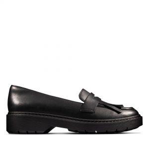 Дамски ежедневни обувки Clarks Witcombe Dawn от естествена кожа черни - снимка 2