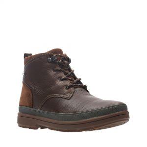 Мъжки есенни обувки Clarks Rushway Mid GTX от естествена кожа, кафяви - снимка 1