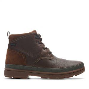 Мъжки есенни обувки Clarks Rushway Mid GTX от естествена кожа, кафяви - снимка 2