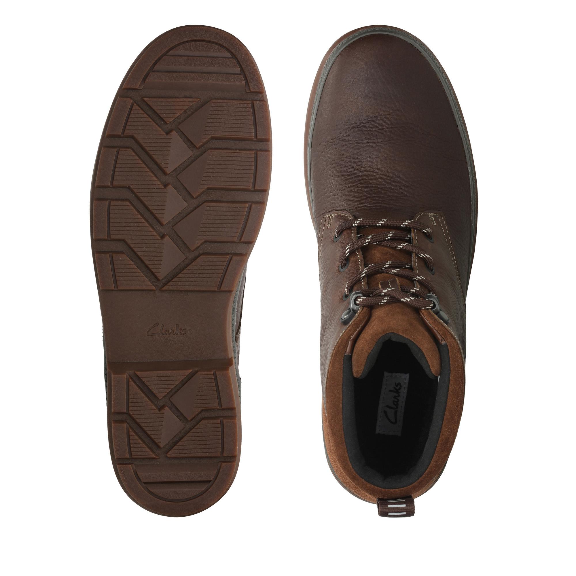 Мъжки есенни обувки Clarks Rushway Mid GTX от естествена кожа, кафяви - снимка 6