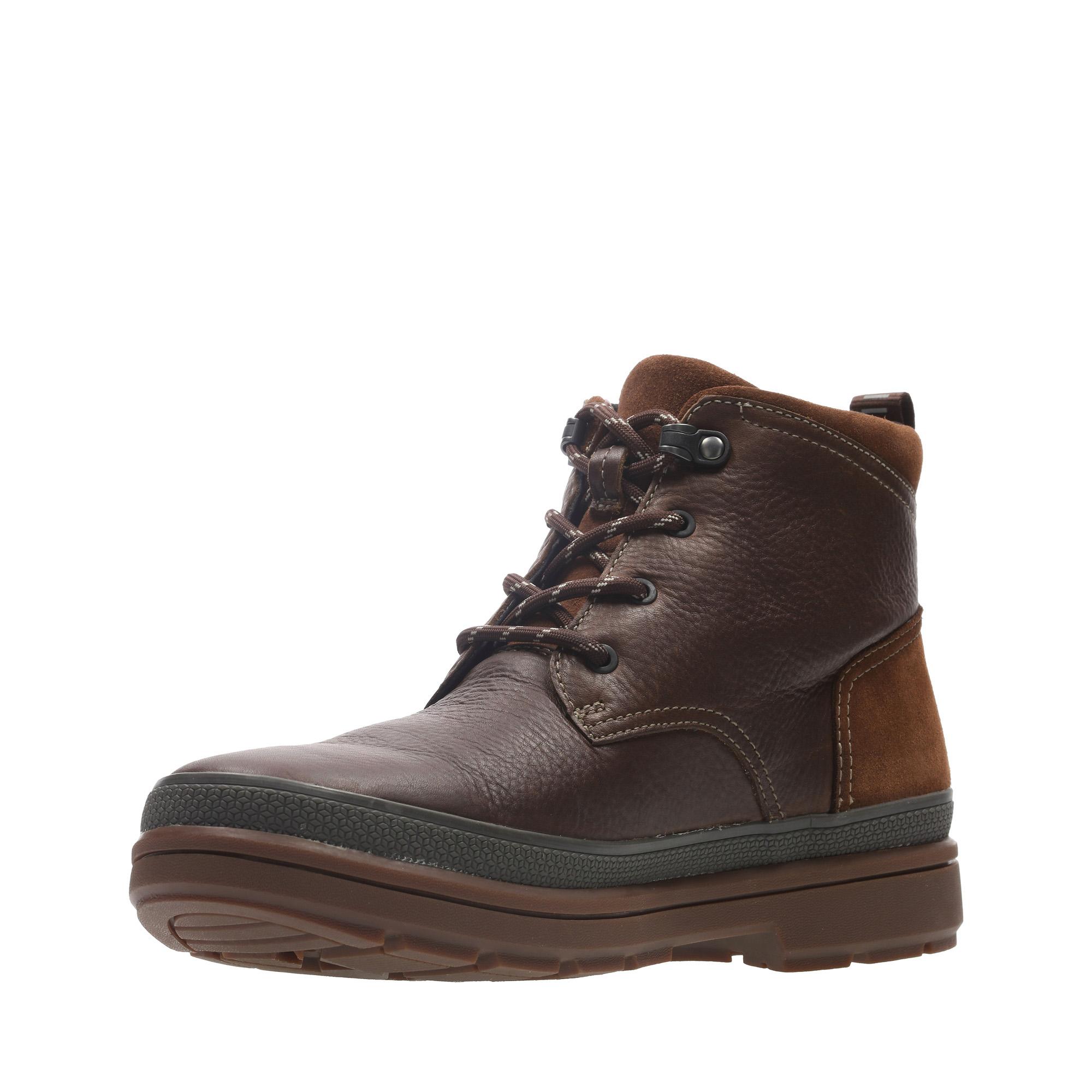 Мъжки есенни обувки Clarks Rushway Mid GTX от естествена кожа, кафяви - снимка 7