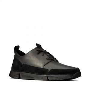 Мъжки спортни обувки Clarks Tri Solar от естествена кожа черни - снимки 1