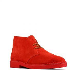 Мъжки ежедневни обувки Clarks Desert Boot 2 от велур червени - снимка 1
