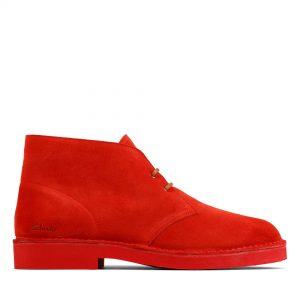 Мъжки ежедневни обувки Clarks Desert Boot 2 от велур червени - снимка 2