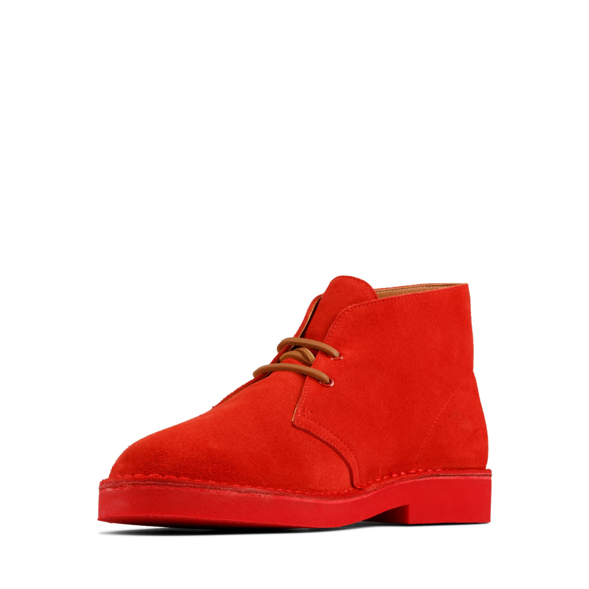Мъжки ежедневни обувки Clarks Desert Boot 2 от велур червени - снимка 7