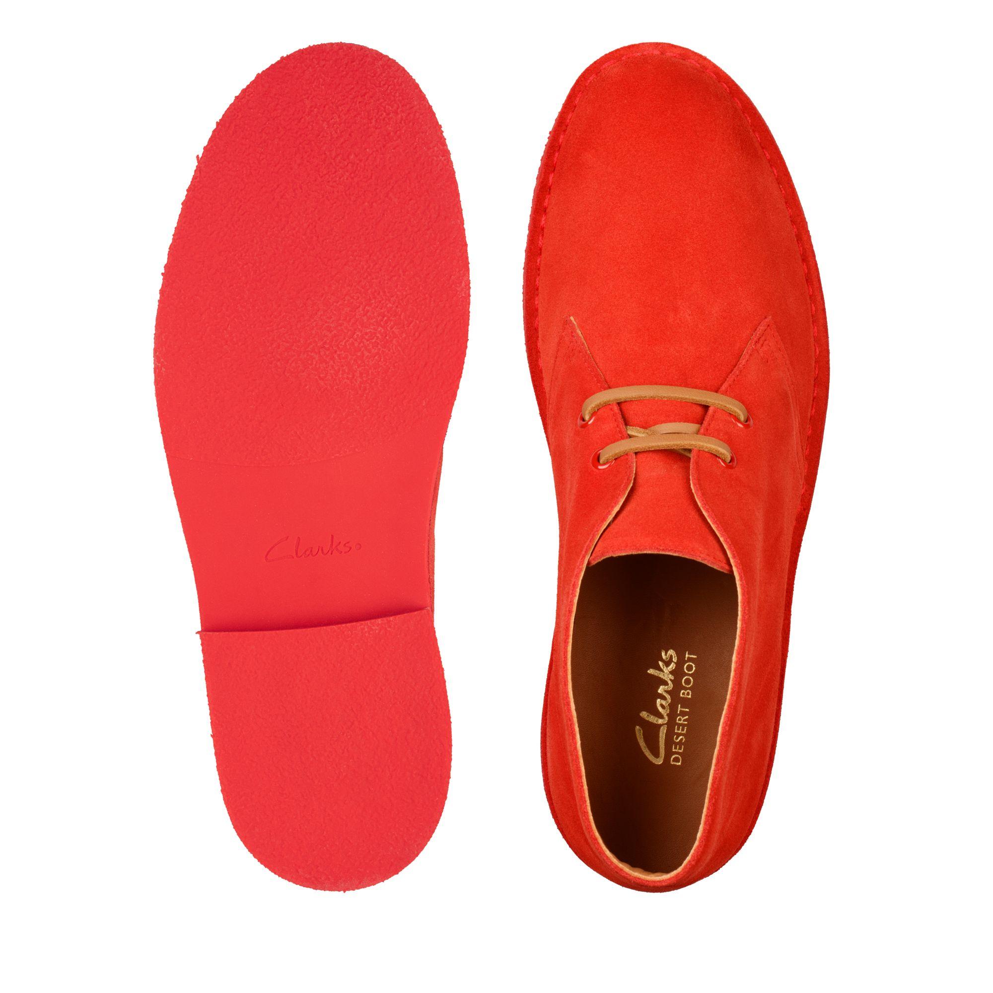 Мъжки ежедневни обувки Clarks Desert Boot 2 от велур червени - снимка 8