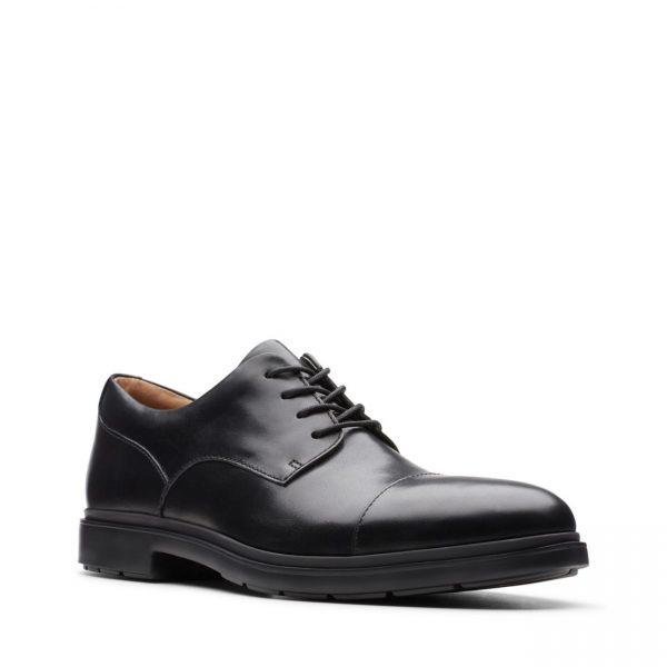 Мъжки елегантни кожени обувки Clarks Un Tailor Cap черни - снимка 1