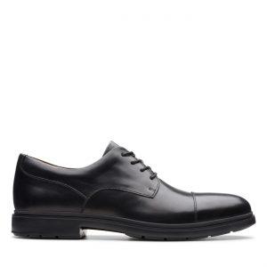 Мъжки елегантни кожени обувки Clarks Un Tailor Cap черни - снимка 2