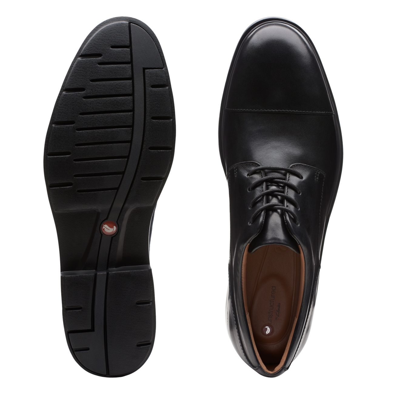 Мъжки елегантни кожени обувки Clarks Un Tailor Cap черни - снимка 7
