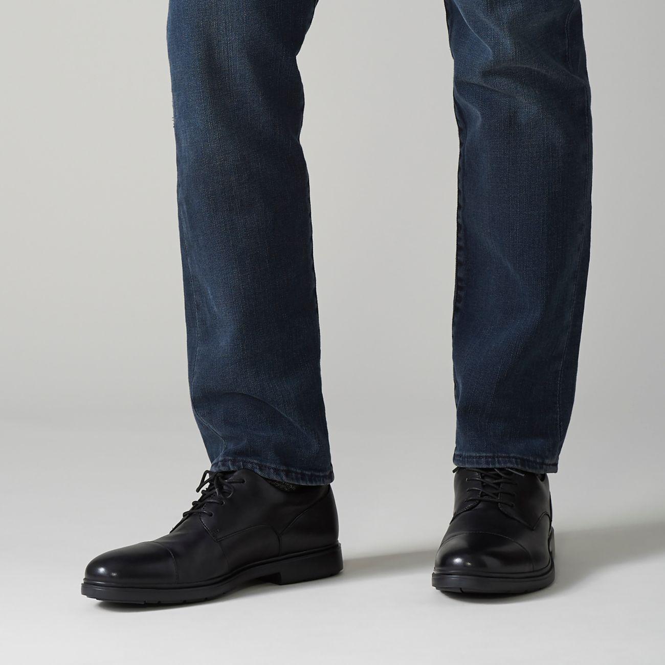 Мъжки елегантни кожени обувки Clarks Un Tailor Cap черни - снимка 8