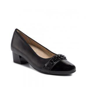 Дамски елегантни черни обувки на ток с лачен нос ara 12-45880-06 - снимка 1