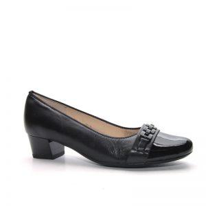 Дамски елегантни черни обувки на ток с лачен нос ara 12-45880-06 - снимка 2