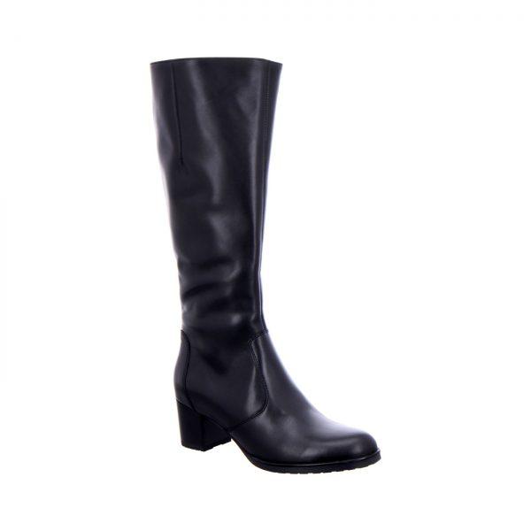 дамски черни кожени ботуши с ток ara 12-16910-71 - снимка 1