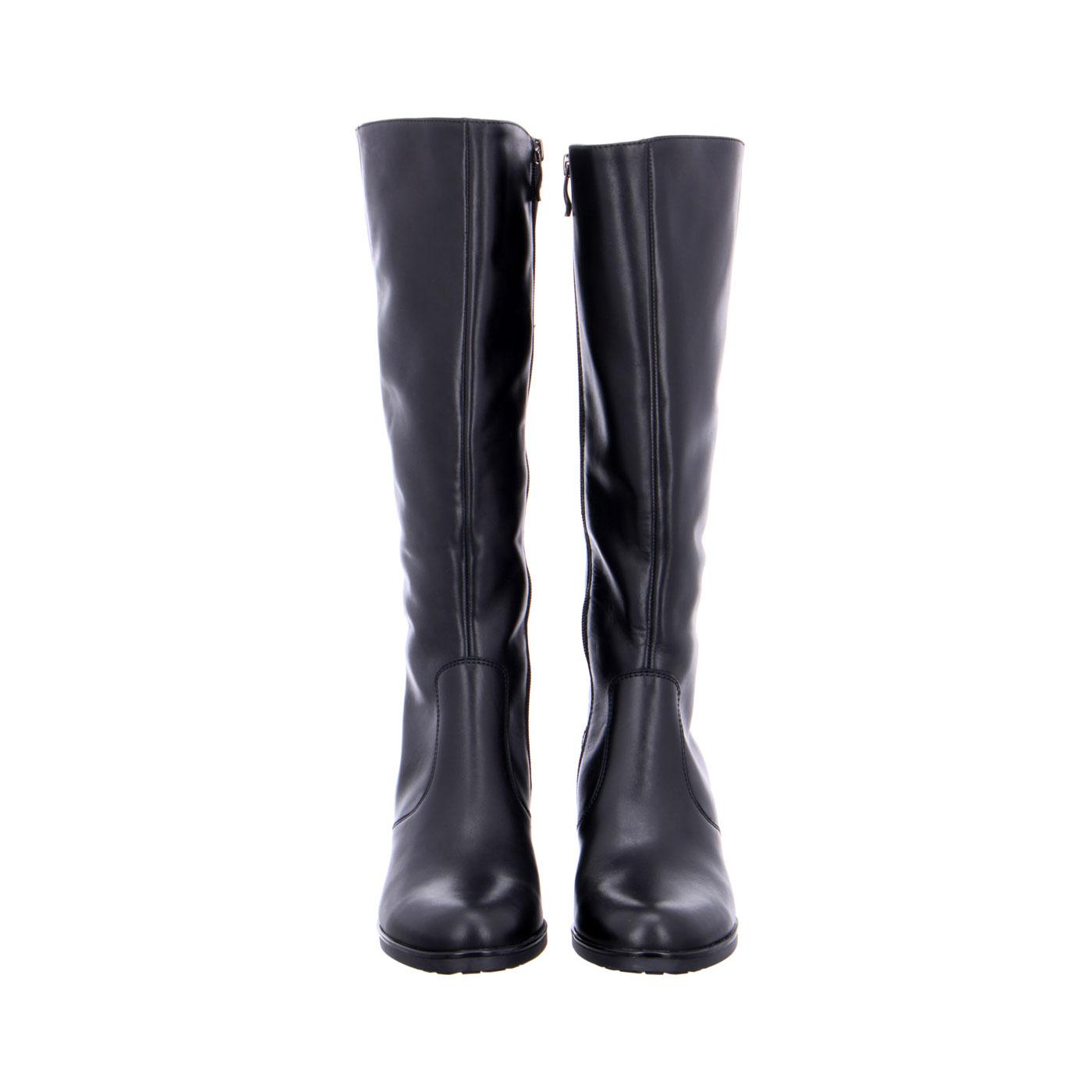 чифт дамски черни кожени ботуши с ток ara 12-16910-71