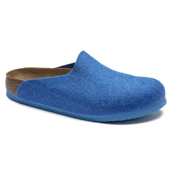 Веган дамски чехли от полиестерен филц Birkenstock Amsterdam FE Blue VEG - снимка 1