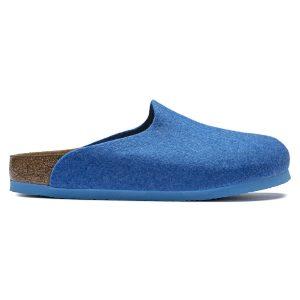Веган дамски чехли от полиестерен филц Birkenstock Amsterdam FE Blue VEG - снимка 2