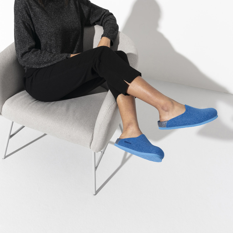 Веган дамски чехли от полиестерен филц Birkenstock Amsterdam FE Blue VEG - снимка 7