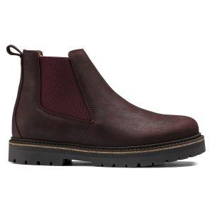 Дамски високи обувки от ест. кожа Birkenstock Stalon LENU burgundy - снимка 2